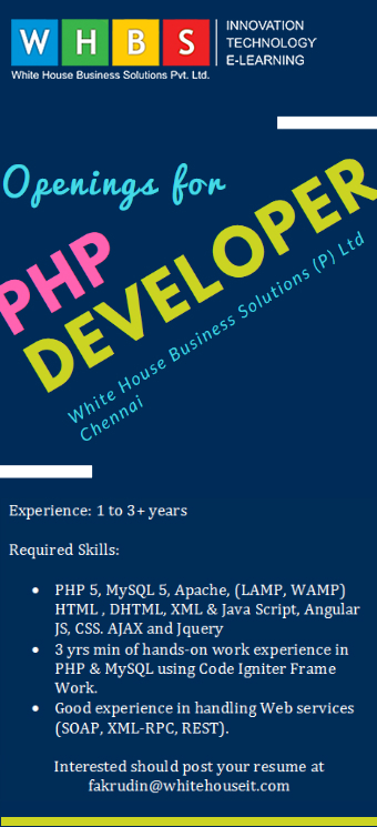 Job opening for php developer
